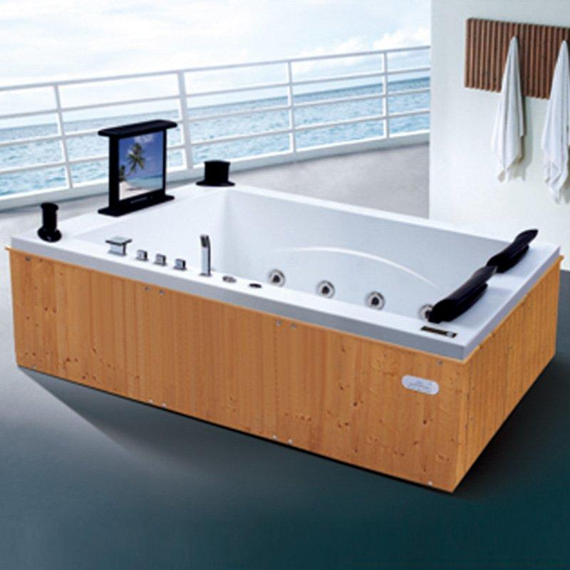 Hot Sale Style Wood Bathtub Fired Hot Tub With Sex Massage TV AD-602