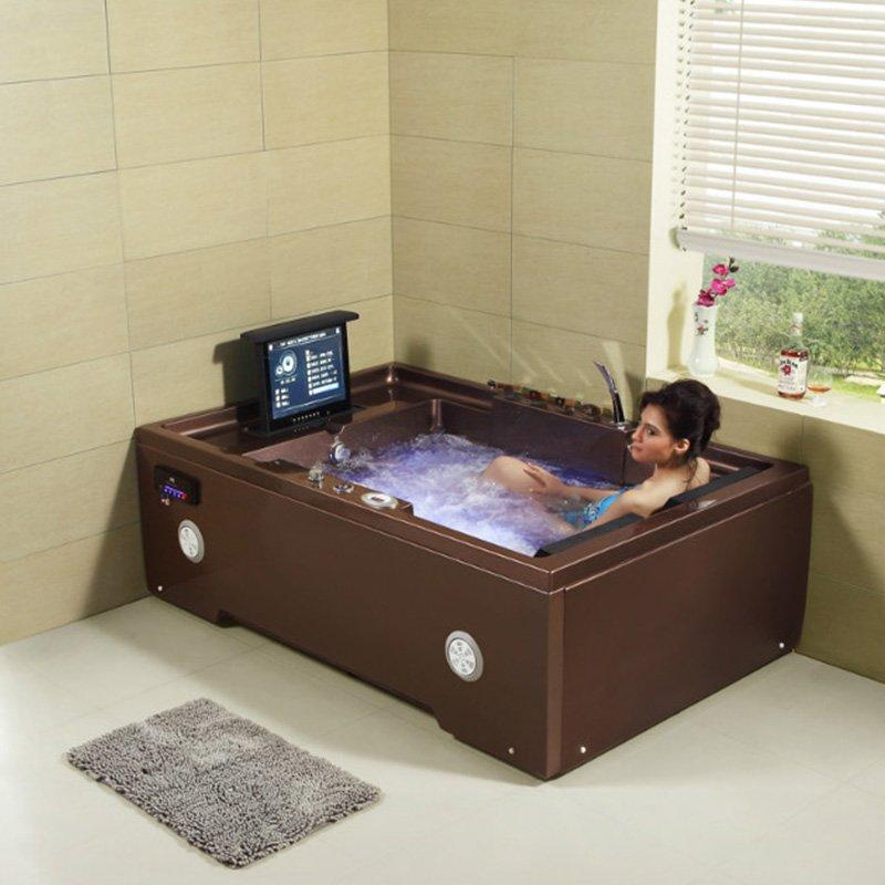 AD-664 Best Selling White Or Chocolate 2 Person Acrylic Sheet Bathtub Whirlpool With Tub Headrest