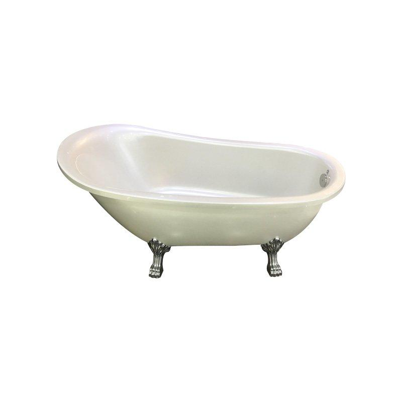 Acrylic Classic Cast Iron Soaking    Claw-foot Bathtub with Pillow