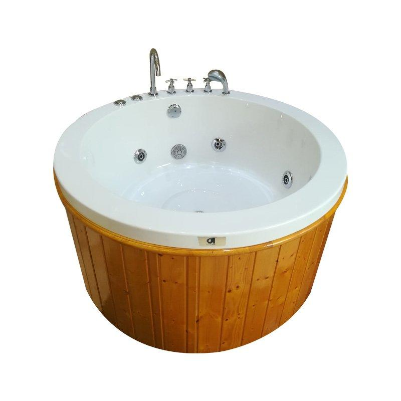 High Quality Acrylic Wooden Freestanding Round Whirlpool Bathtub