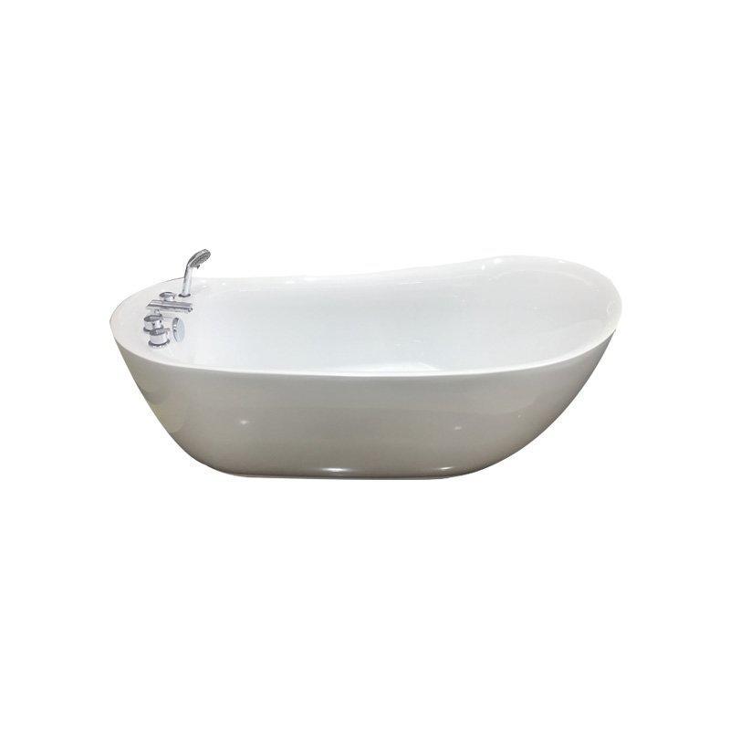 Modern Acrylic Freestanding Oval Soaking Bathtub with Handle Shower
