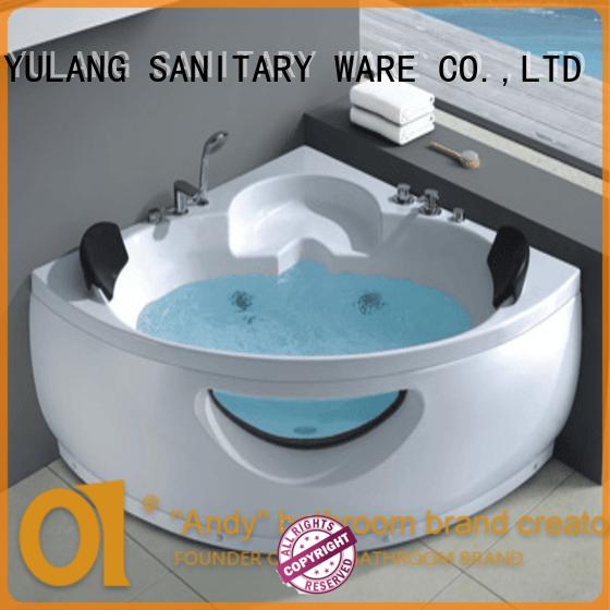 Triangle double massage bathtub indoor corner whirlpool acrylic bathtub AD-638