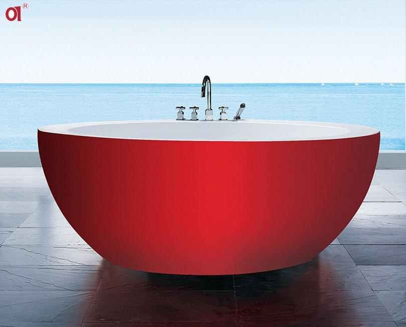 circle bathtub big bowl shaped solid surface freestanding round freestanding tubs hotel villa theme bathtub