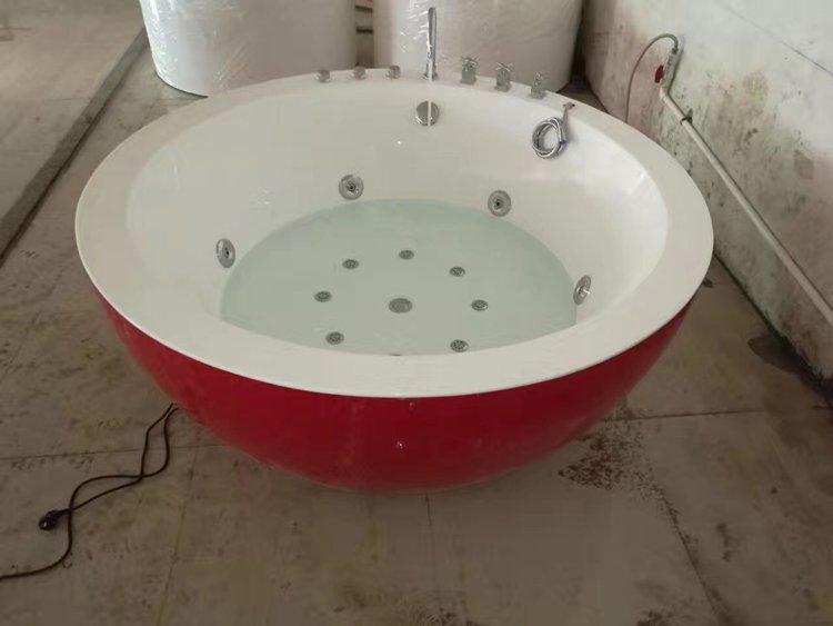 circle bathtub big bowl shaped solid surface freestanding round freestanding tubs hotel villa theme bathtub