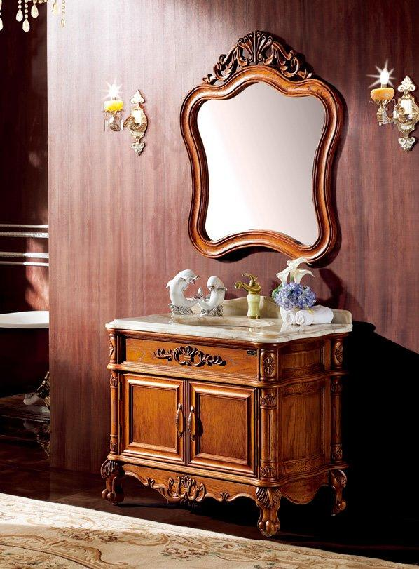 AD-7006 Classic American Red Oak carved wood Bathroom Cabinet,Antique style Bathroom Furniture