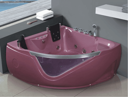 AD-651 Acrylic Triangle Massage Whirlpool Bathtub for 2 Person