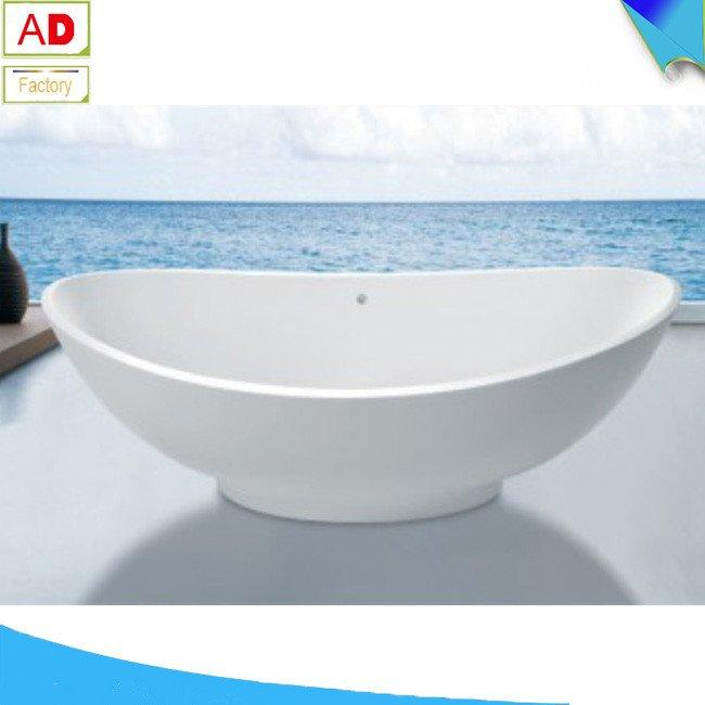 AD-6053 High Quality Soaking Freestanding l Shape Stone Bathtub