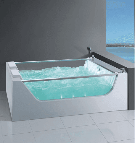 AD-626 hot sell acrylic clear tempered glass tub whirlpool massage square bathtub