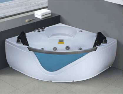 Fiberglass 2 person corner bathtub with bath crock armrest panel with DVD radio massage tubs acrylic mold bathtub AD-611