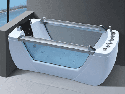 ANDI-628 Two Sided Glass Whirlpool Massage Bathtub For Sale