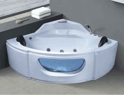 Bathtub with Seat Acrylic Hydro Massage Whirlpool Corner Mini Triangle Shape Bathtub 1.5M Best Price