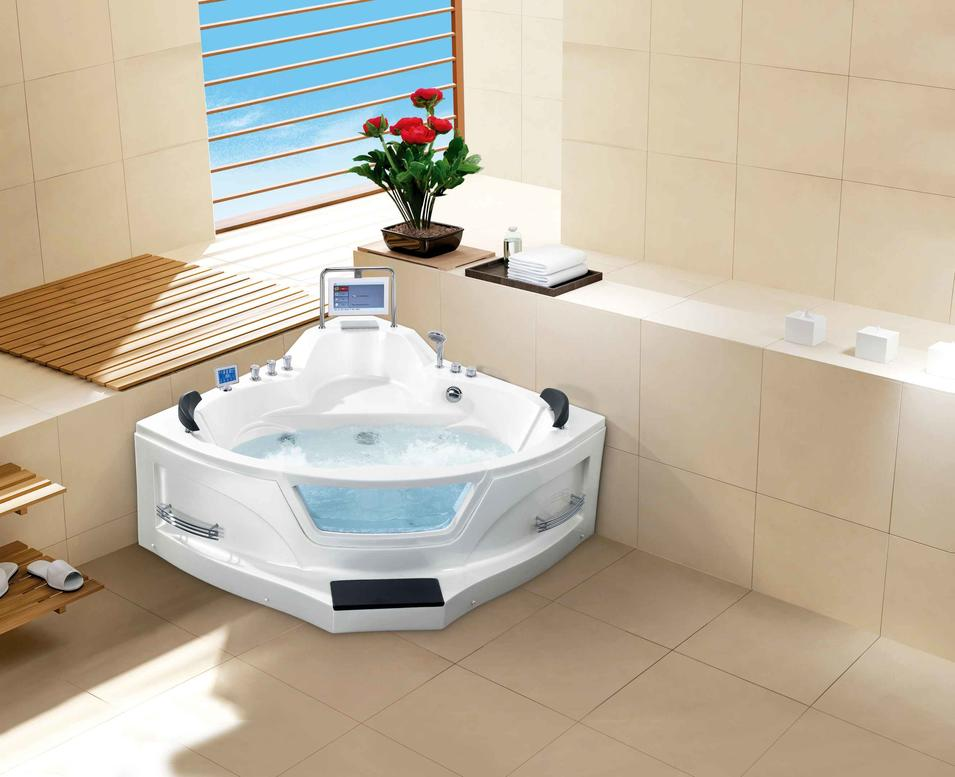 AD-8801 Triangle Shaped Acrylic Massage Bathtub with TV for 2 person
