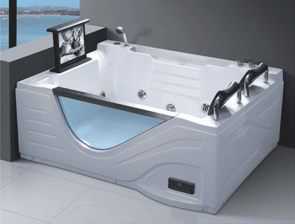 Wholesale Luxury Acrylic Spa Massage Bathing Pool 2 Person Whirlpool Bathtub with TV AD-614