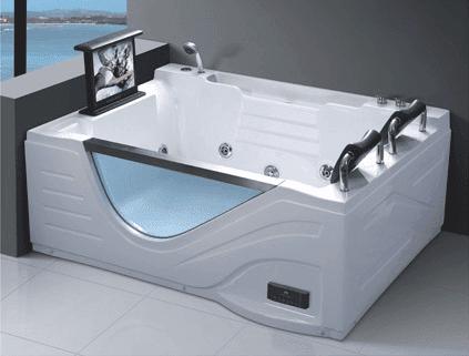 Wholesale Luxury Acrylic Spa Massage Bathing Pool 2 Person Whirlpool Bathtub with TV AD-614