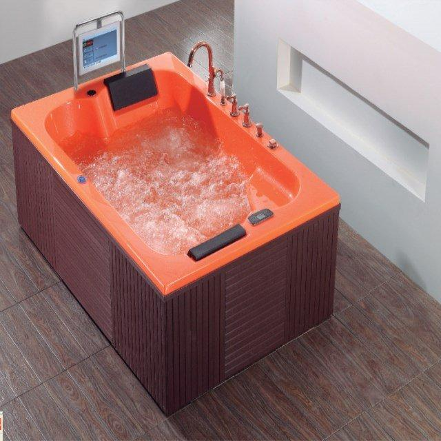 Make in China Multi-function Freestanding Pearl Acrylic Whirlpool Bath Tub with TV for double AD-3305B