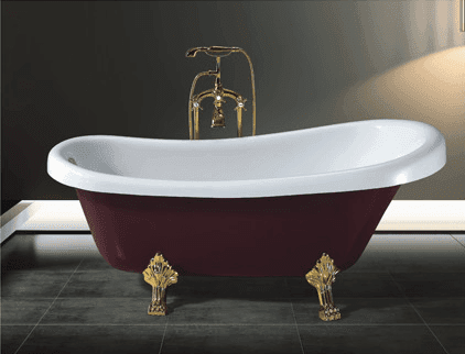 Freestanding Acrylic Classical Clawfoot Red Chinese Sex Soaking Tub with Floor Standing Faucet