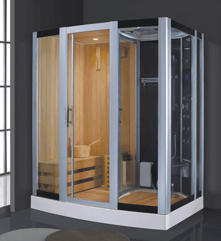 Top Grade Hemlock Wood Mini Sauna Steam Combined Room with Sauna Stone AD-949