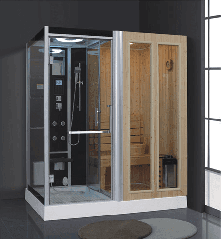 Top Grade Hemlock Wood Mini Sauna Steam Combined Room with Sauna Stone AD-949