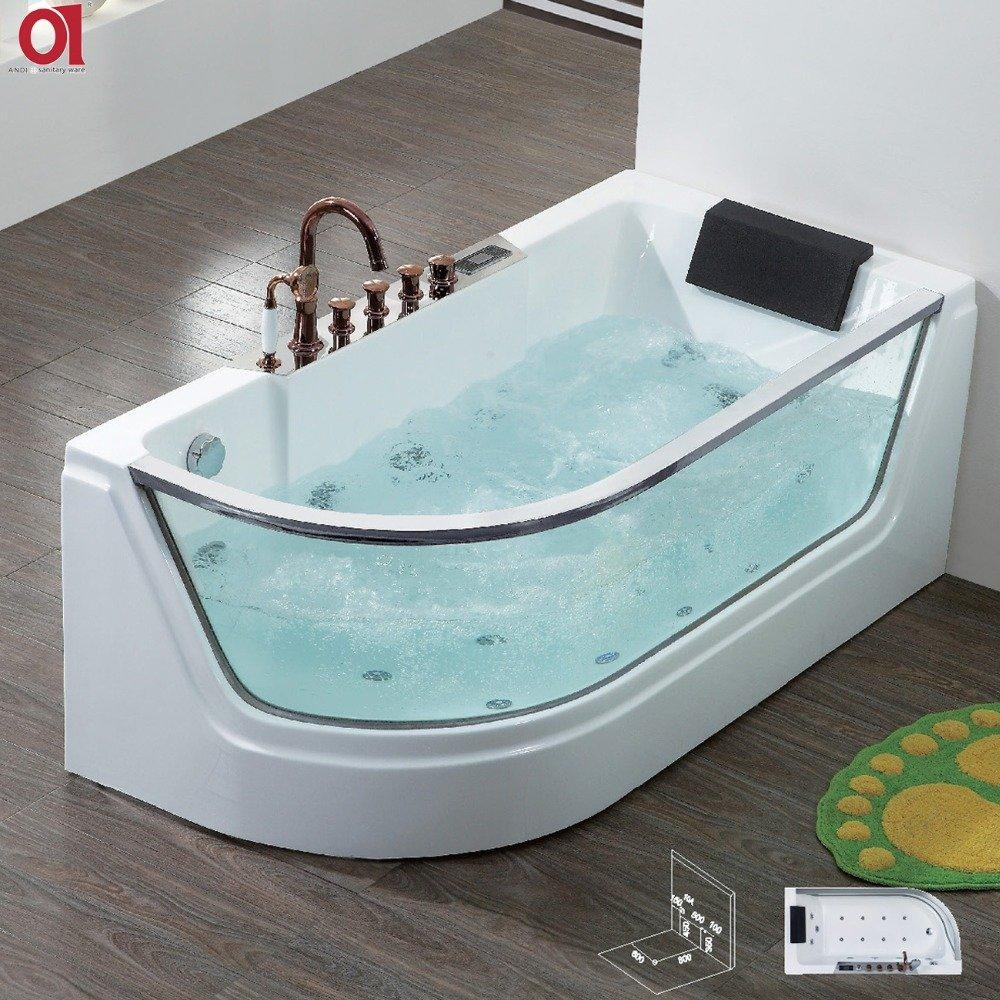 High quality clear tempered glass acrylic tub price whirlpool massage bathtub for massage AD-624