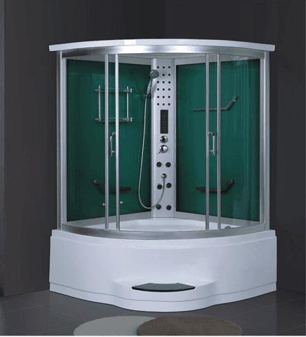 China luxury green tempered glass 2 person steam sauna room with acrylic massage bathtub AD-924