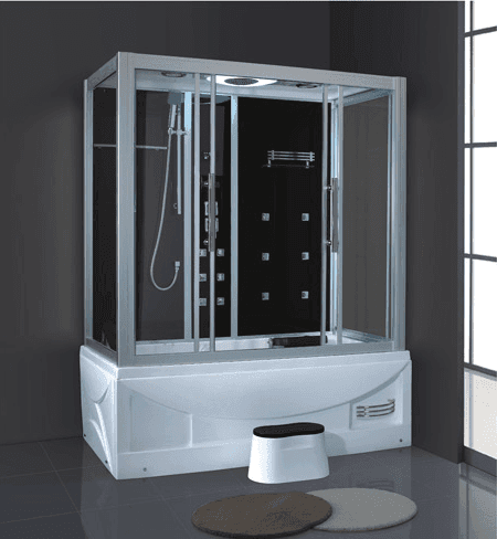 Luxury blue tempered glass acrylic wet sauna portable steam room AD-909