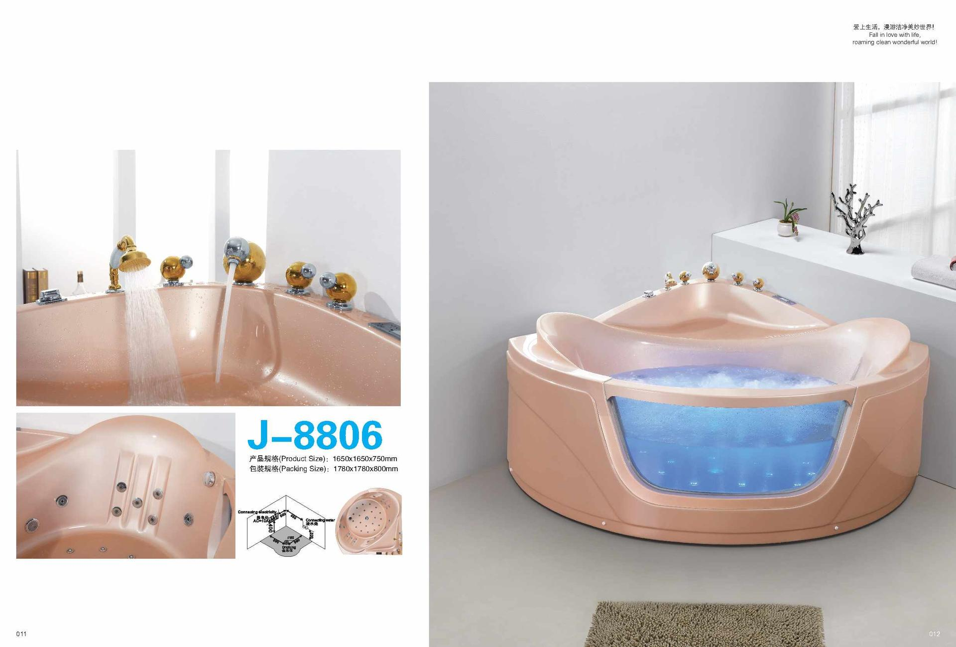 China suppliers hydrotherapy baths sale walk-in tub shower combo with LED Bulbs AD-8806