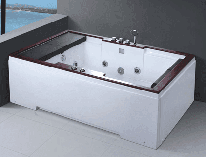New Custom Made 2 Person Acrylic Surfing Hydromassage Royal Bathtub with Tray AD-662