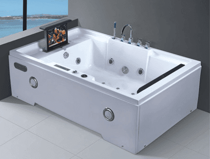 Best selling white or chocolate  2 person acrylic sheet bathtub whirlpool with tub headrest AD-664