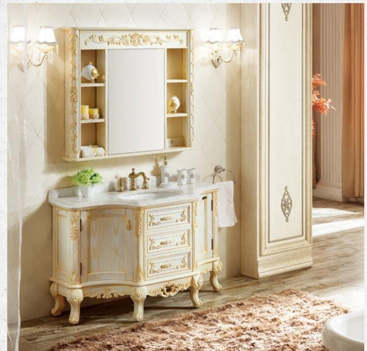 Best seller home furniture European Style Amercian Red Oak Cabinet Bathroom cabinet