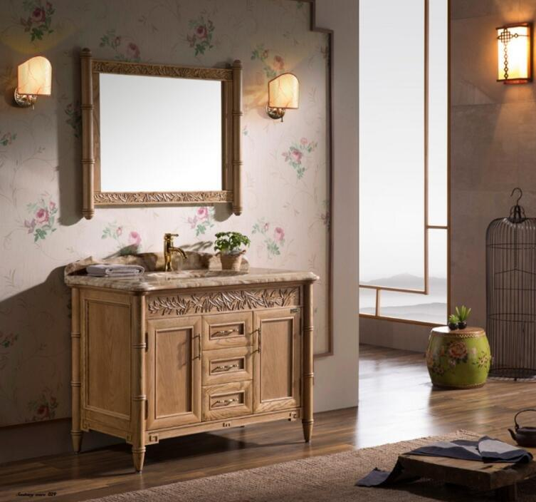 New Chinese  Top Style American ash Cabinet Bathroom storage cabinet with sliver mirror