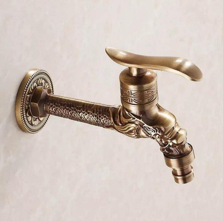 Luxury Wall Mounted Gold Faucet for Washing Machine Gold Plated Brass Bibcock Faucet