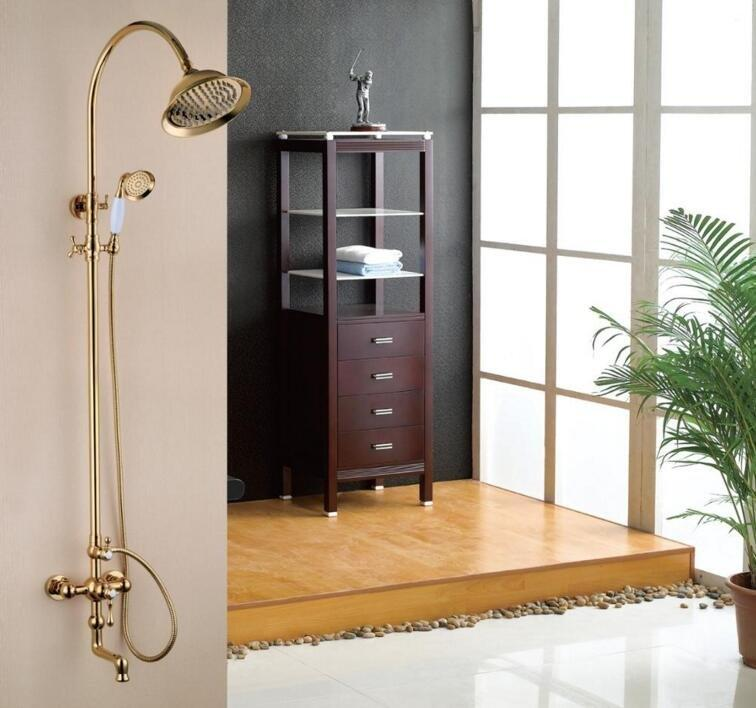 Gold Brass exposed wall mounted shower faucet/shower spas/three function shower system