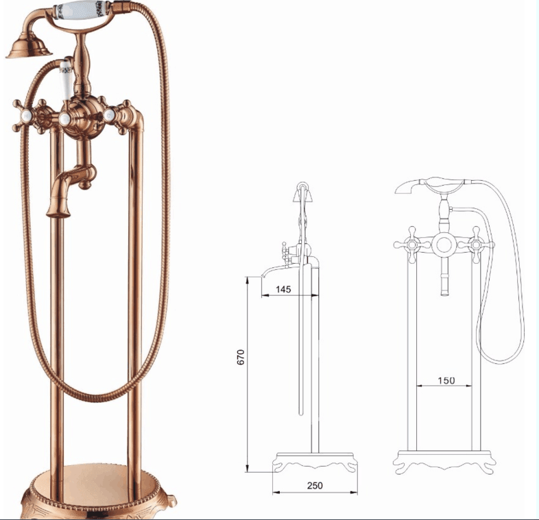 ANDI Freestanding waterfull bathroom water tap faucet for bath solid brass bathtub faucet Bathroom Faucet image1