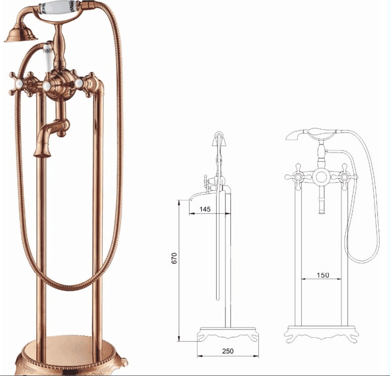 Freestanding waterfull bathroom water tap faucet for bath solid brass bathtub faucet