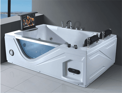 Big size double person bathtubs with tv and armrest bathtub FM radio sex massage hot tub AD-613