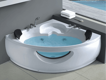 Triangle double massage bathtub indoor corner whirlpool acrylic bathtub AD-638
