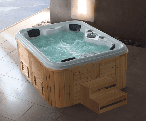 Large wood acrylic hydro massage spa pool whirlpool bathtub for 3 to 5 persons AD-809