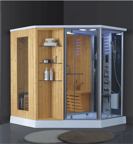 China sale diamond shaped sauna rooms far infrared dry and wet steam room acrylic shower tray 1800*1800MM AD-946
