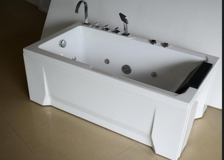 Top brands spa massage bath tubs price 1.3 meter two sides skirt bathtub AD-8202
