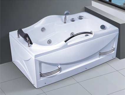 Bathtub sizes jetted bath indoor rectangle hot tub faucets bathrooms bath parts with stainless steel handrail AD-689