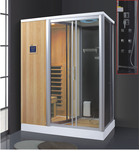 Sauna shower combination findland wood steam bathroom steam shower sauna combos AD-944