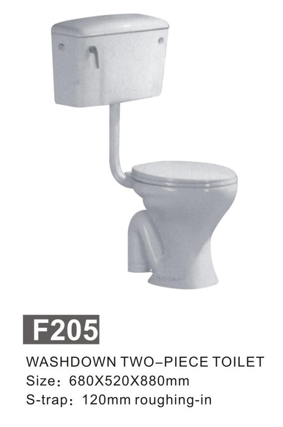 China foshan sanitary ware two piece toilet cheap with small size for business project F-205-1